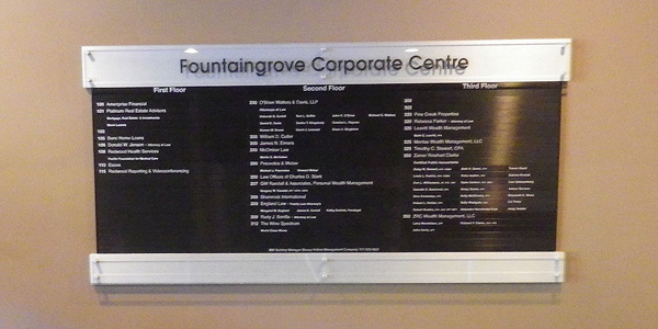 Fountain Grove Corporate Centre Directory Sign